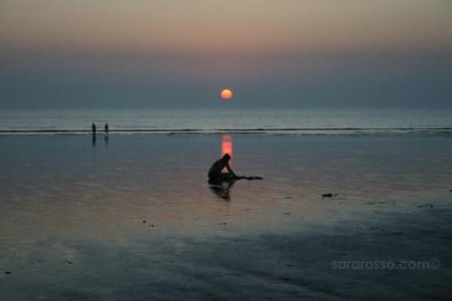 Disappearing Sun, Dandi Beach outside Navsari, Gujarat, India