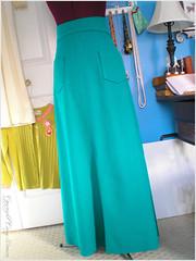 the green skirt - unhemmed.