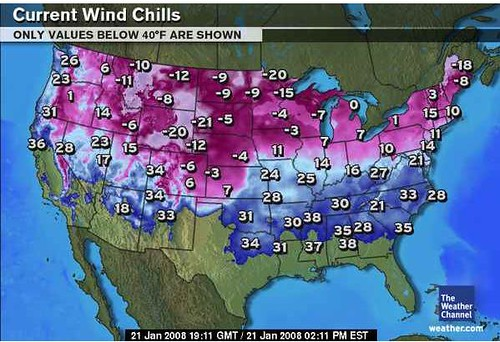 weather map of coldness