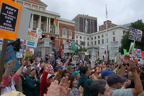 qwrrty via flickr, marriage equality rally in Boston, 2007
