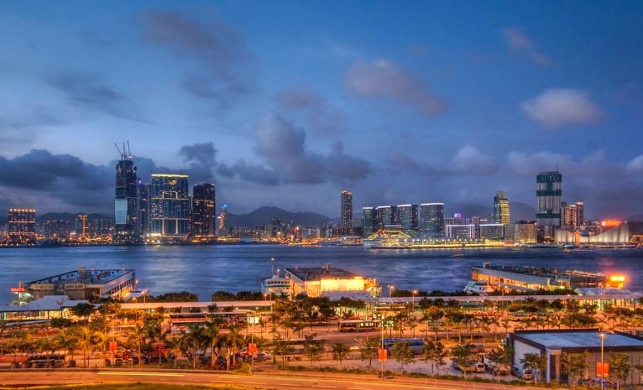 Shooting Across the Straits of Hong Kong at Dusk