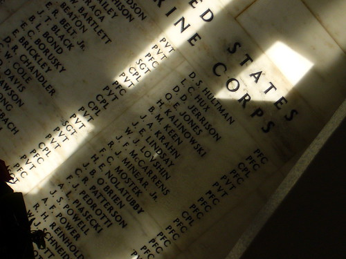 A small portion of the list of men who gave their lives that day