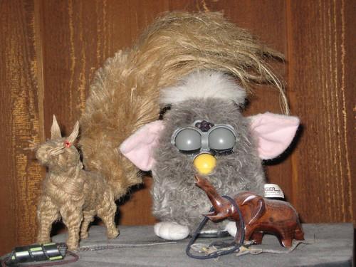 rope squirrel, Furby, elephant