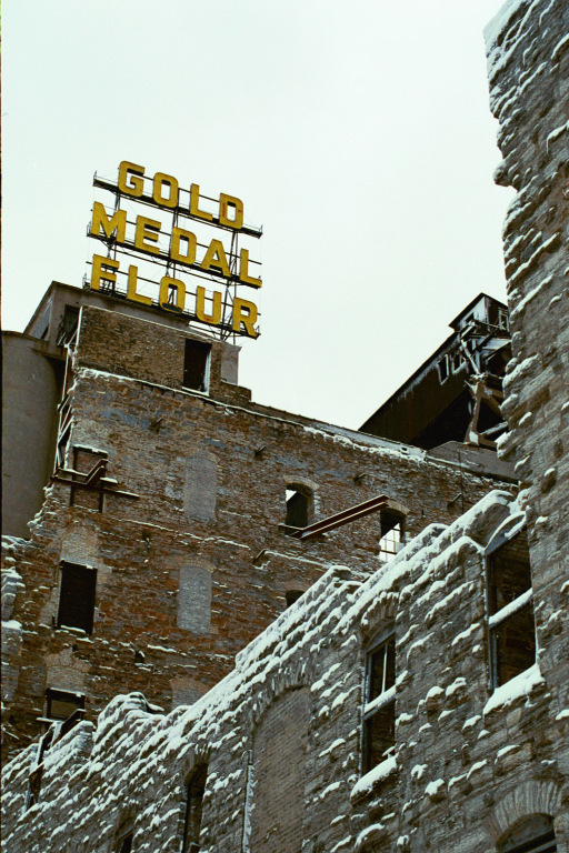 Gold Medal Flour, Minneapolis, Minnesota, Winter 2003, C41 negative print film, photo © 2003-2008 by QuoinMonkey. All rights reserved.