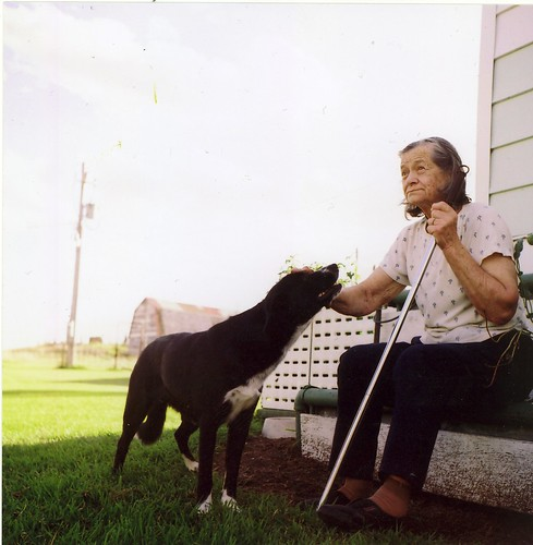 grandma and dog