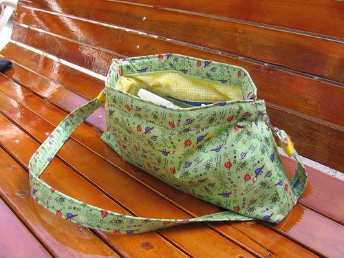 Open Knitting Bag on Bench