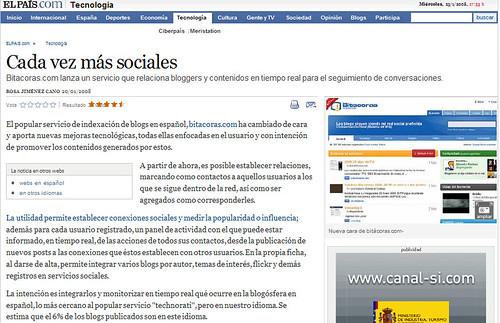 Artículo de Bitacoras.con en Elpais.com