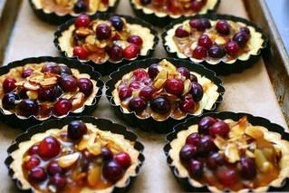 cranberry, caramel and almond tartlets