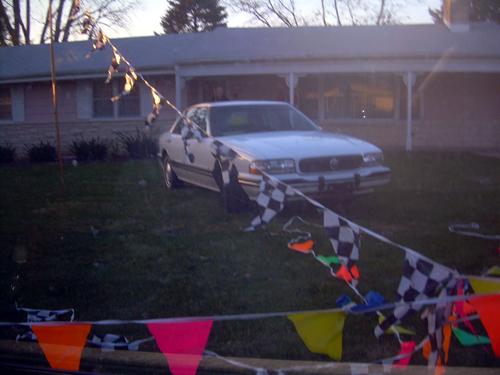 Car on lawn