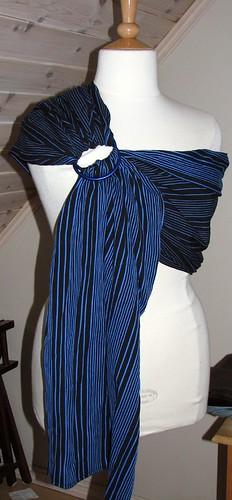 Blå og svart stripete myk bomull