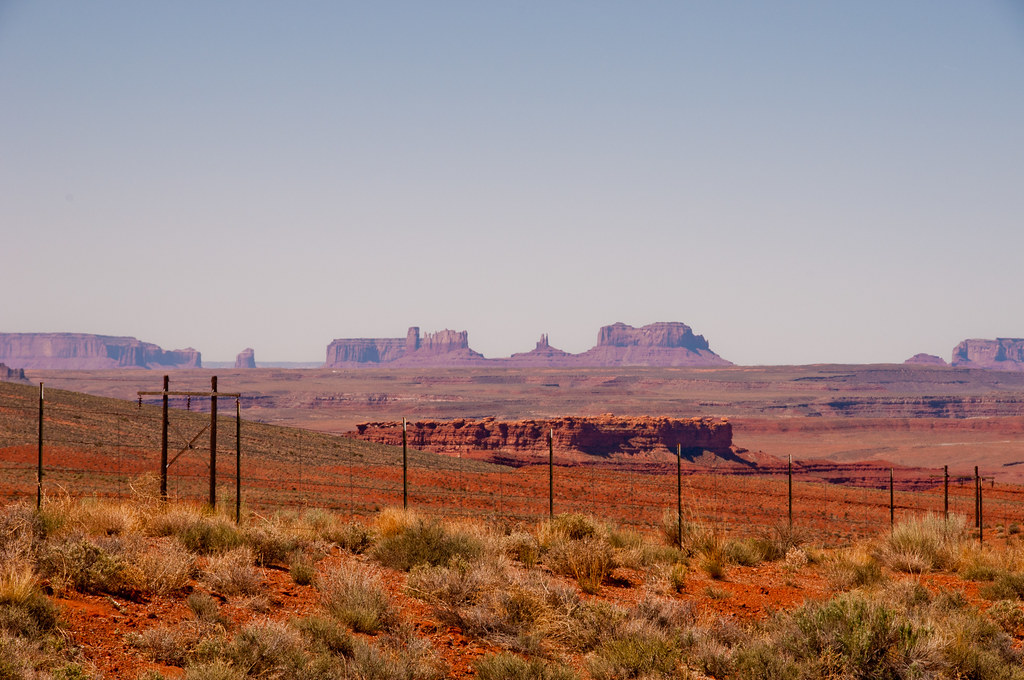 A distant view of Monument Valley