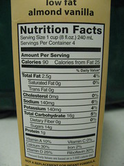 pacific vanilla almond milk nutritional information by lil 1/2 pint