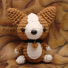 Amigurumi Corgi puppy dog with collar and heart charm