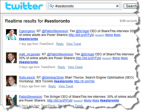 SES Toronto Twitter hashtag search results