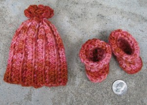 hat and booties, quarter for scale