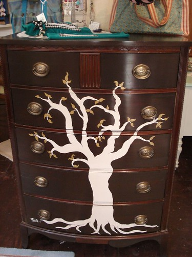 Brown colorwash tree dresser