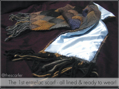 The 1st entrelac scarf - all lined & ready to wear!
