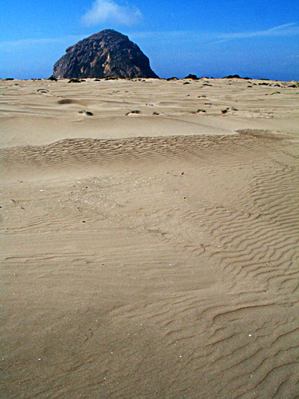 Morro Rock viewed from the sand spit in Morro Bay