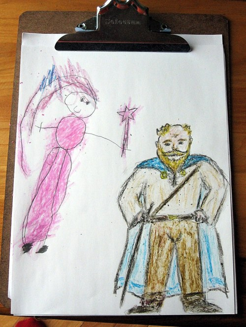 Ollie and Dad as D&D characters