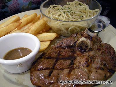 Lamb steak with mint sauce