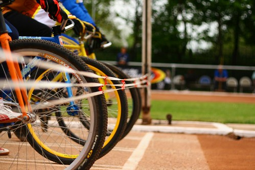 Bicycles at the starting line of a race.
