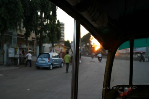 A (auto) rickshaw / tuctuc sunset in Navsari, India