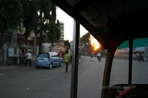 A (auto) rickshaw / tuctuc sunset in Navsari, India