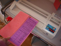 laminating by jimmiehomeschoolmom, on Flickr