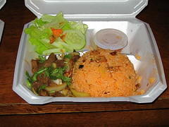 Lok luk beef with rice