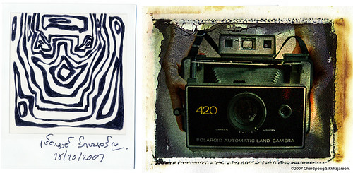 Polaroid 420 Land camera and LINE