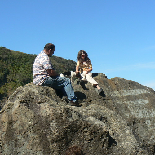 Greg, Ruby, and Ruth on the rocks