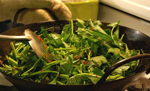 stirfrying water spinach