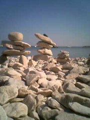 Inuksuit overlooking the bay