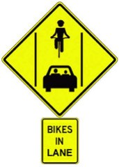 "Santa Cruz council approves ""Bikes In Lane"" sign for Mission Street"