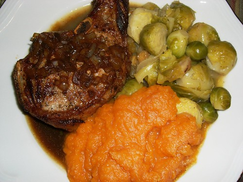 World's most perfect pork chops, Brussel's sprouts in brown butter, and Orangette's squahs puree