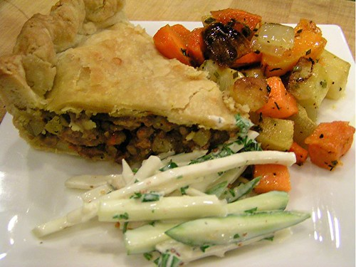 tourtiere and veg
