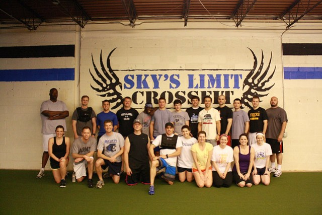 "Sky's Limit CrossFit group doing ""Murph"""