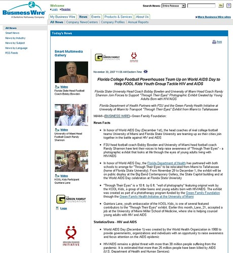 New press release page layout with full multimedia gallery