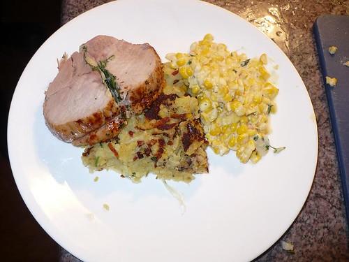 Pork Loin Stuffed with Sage, Creamed Corn, and Rosti