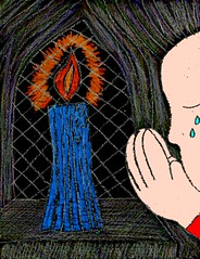 person weeping at Blue Christmas candle