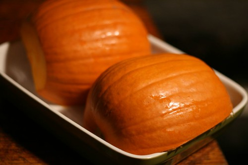 Pumpkin Halves Ready to Bake for Puree