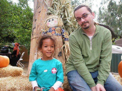 Ilia and Daddy at the Pumpkin Patch