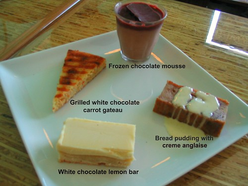 Seasonal dessert tasting platter with labels