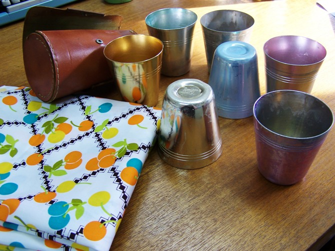 beakers and fabric