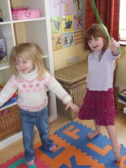 Aisling in Trousers and Aine dancing