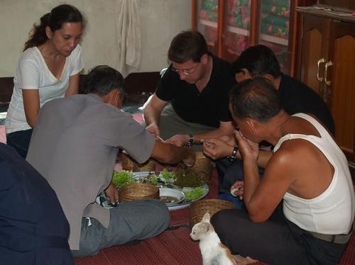 Communal meal at Atsaphone village to celebrate the irrigation dam