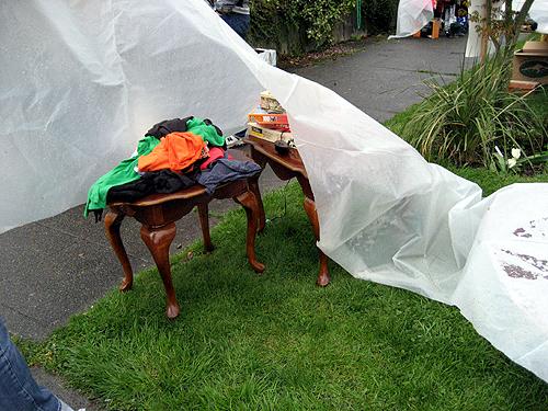 Yard sale with tarps