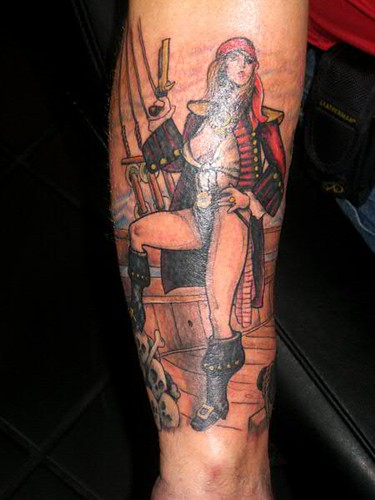 Pirate Pinup tattoo by Jon Poulson