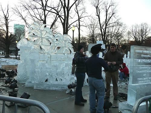 Ice sculptures in progress