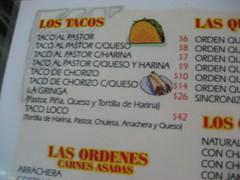 The taco menu